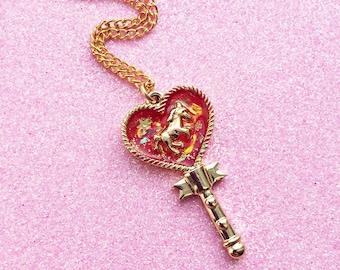 Kawaii Ruby Opal Unicorn Heart Wand Key Magical Girl Resin Charm Necklace