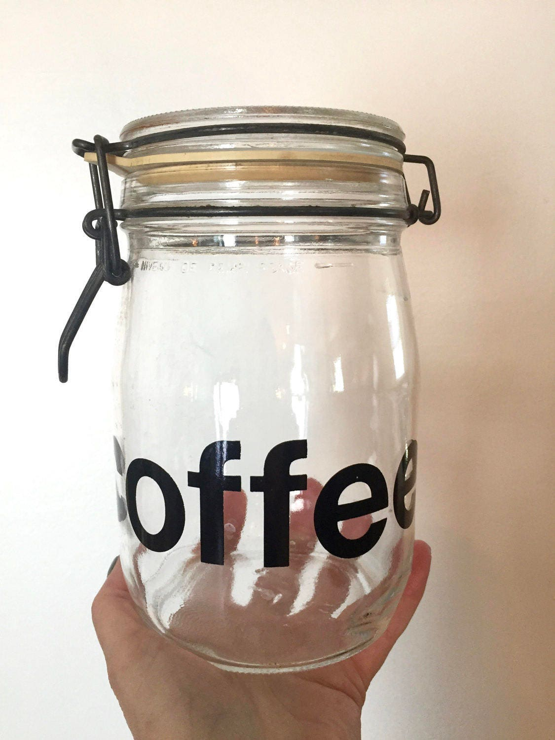 Vintage Glass Coffee Canister Retro Font Coffee Canister Coffee