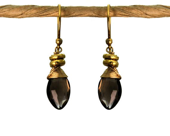 Wire Wrapped Smoky Topaz Earrings with Tiny Nuggets. Also in Labradorite. Silverite, Gold or Silver E-1964-1
