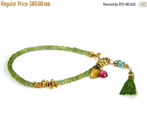 20% off. August Birthstone Peridot Beaded Bracelet with 22k Gold Vermeil and Pink Topaz Accents.