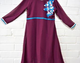 Aubergine dress, Egg plant purple dress, Purple Dress, Party dress, Classic Dress, Long Tunic, Summer dress, Retro dress, Office dress,