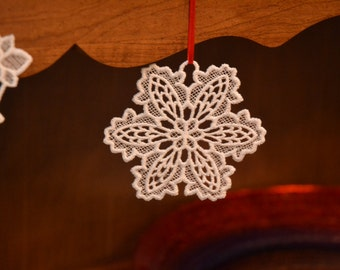 Snowflake #2 embroidered lace ornament