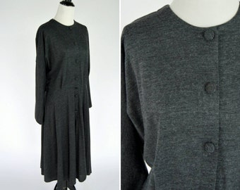 Vintage 1980's Grey Shirtwaist Dress - Soft Knitted Secretary Dress - Mid Length Dark Grey dress - ladies size Medium to large