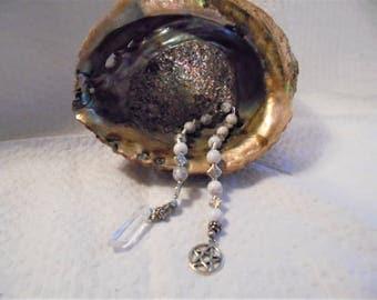 Howlite and metal Pagan Prayer Beads Esbat strand pendulum