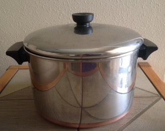 Revere Ware Stock Pot 6 Qt Dutch Oven Stainless Sauce Soup Stew Pan Copper Bottom Vintage