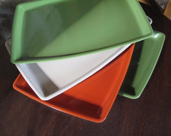 Set of 4 Small Enamel Trays, Mid-Century, Modern, Rectangular, orange, green, ivory, enamel metal, oven safe