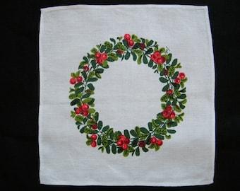 Vintage Collectibles Lisbet  Jobs Print:   Lingonkrans Wreath Hand print Swedish Textiles.