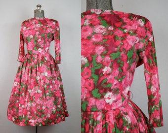 1950's Pink Rose Print Day Dress / Size Medium