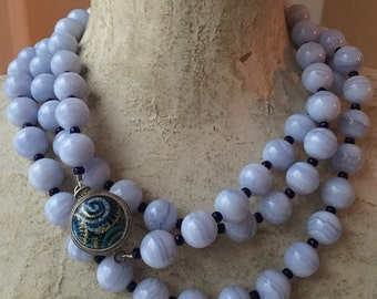 Rare Blue Banded Lace Agate Vintage Beads, 925 Large Decorative Clasp, 55 inch Rope Length Vintage Necklace
