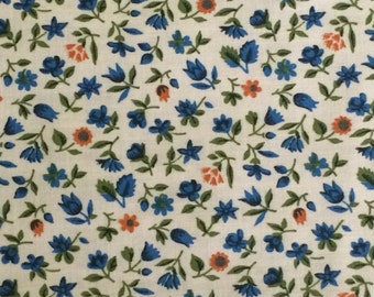 Cotton Fabric / Calico Fabric / Blue Floral Fabric /  Cotton Floral Fabric / Vintage Floral Fabric / Blue Calico Fabric / Quilting Fabric