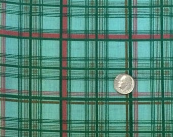 Cotton Fabric / Green and Pink Plaid Fabric / Plaid Cotton Fabric / Green Plaid Fabric / Green and Pink Cotton Fabric / Quilting Fabric
