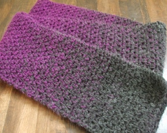 Crochet Scarf in Purple and Gray