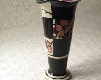 Torquay Watcombe Vase Alexandra Rose Devon England Art Nouveau Pottery Inscribed 1338 Early 1900s Black White Check McKenzie Childs Style