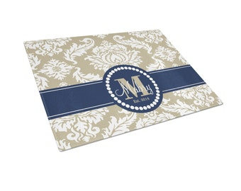 Personalized Cutting Board  - Personalized Glass Cutting Board Navy Blue and Taupe Damask