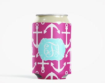 Personalized Can Insulator, DIY Custom Bottle Insulated Beverage Container, Magenta Anchors