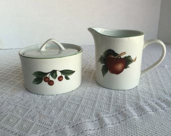 Ceramic Creamer and Sugar Bowl Set / Cades Cove Collection Made in China /Vintage  Apples and Cherries Tableware