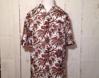 Vintage 70s Men's Shirt - Resort - Thailand - Tiki - Button Down - Dress Shirt