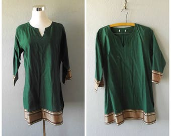 india tunic dress | vintage 90s green gold hippie boho kaftan mini dress size s/m small medium indian blouse tops hippy bohemian 1990s cafan