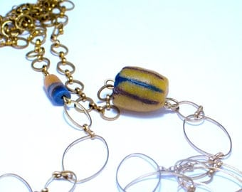 Mix and match necklace. Brass jewelry. Long necklace Modern jewelry. Contemporary. Metal, stone, marble, raw brass chain