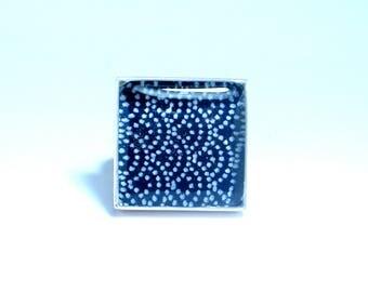 Blue origami resin ring. resin jewelry. Modern jewelry. adjustable, deep blue, cobalt, indigo. Statement ring