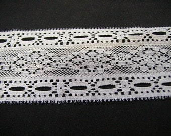 "4 Yds. Raschel Lace Beading.  1 3/4"".  Color is White"