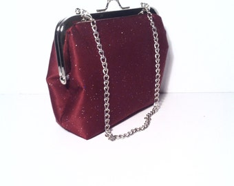 Mini Burgundy Maroon Glitter Evening Bag/ Clutch with 15 Inches Handle, 5x5x2