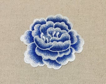 Blue Flower Embroidered Appliques, Fabric Peony Patch