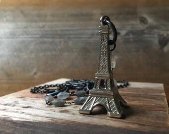 Eiffel Tower Necklace souvenir Paris holiday travel by Nancelpancel on Etsy
