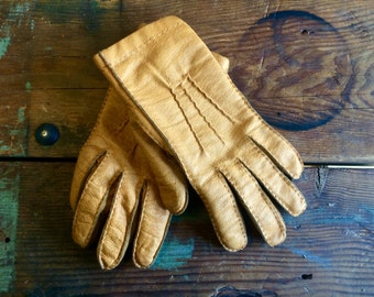 70s Mustard Leather Gloves Soft Womens Small