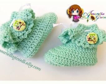 Calze bimbo, bimba, su ordinazione, 6-18 mesi, verde, gufo, bimbi, socks, scarpette, scarpine, calzini, neonato, baby, uncinetto