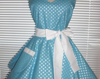 Retro Pinup Style Apron in Icy Blue Featuring Pretty Pearlized Dots White Accents Circular Flirty Skirt
