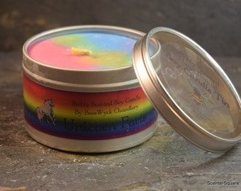 Soy Candle Tin - 8 oz in Unicorn Farts Scent (Say What?)