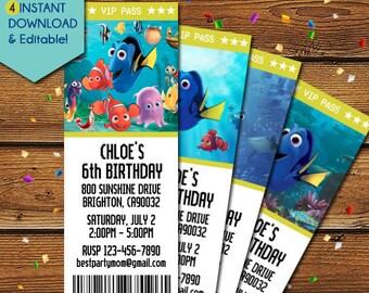 Finding Dory Invitation, Dory Ticket Invitations, Finding Dory Movie Ticket Invitation, Finding Dory Party Invitations, Dory Party Invite