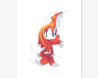 Kitsune Mythical Creature Print A5