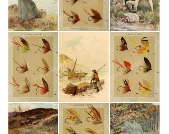 Digital Vintage Fly Fishing Collage Sheet - ATC - JPEG - PDF - Instant Download - Downloadable - Cu / Commercial use
