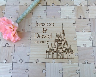 Custom Fairy Tale Wedding Puzzle Castle Wedding Guest Book