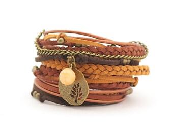 Mustard Brown Tangerine Yoga Wrap Bracelet, Tree of life Bracelet, Zen, Meditation, Personalized Charm, Mothers day gift, gift for mam