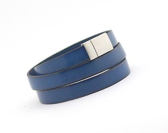 Blue Sapphire Men's Leather Wrap Bracelet, Cobalt Men's Bracelet, Royal Blue Leather Cuff Mens, gift for him, gift for dad