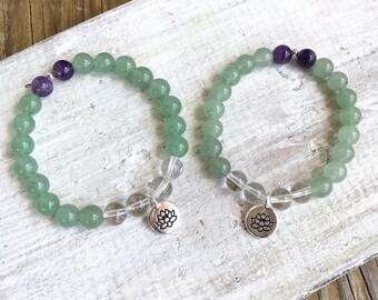 Friendship Bracelet Pair - Heart Connect Friendship  - ZEN by Karen Moore Gemstone Jewelry - Aventurine Amethyst Quartz