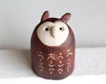 Ceramic Owl Sculpture, Owl Pottery, Wind swept Owl, Handbuilt Pottery, Ceramic Owl Figure