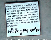 I love you more wood sign / 25x25 / fixer upper / farmhouse / reclaimed wood / valentines day / wedding / anniversary / Love / gift / framed