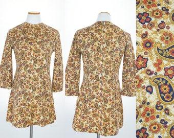 Vintage 70s Print Dress, 1970s Dress, 70s Mini Dress, 70s Pattern Dress, 70s Short dress, 70s dress, 1970s long sleeve, 70s Paisley