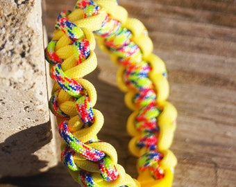 Yellow Paracord Bracelet, Multicolor Paralix Bracelet, 550 Paracord, Made in Michigan, Yooper, Sports Bracelet, Paralix Bracelet, Free Ship