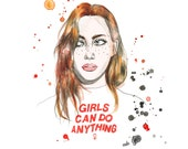 Girls Can Do Anything watercolor print // gift idea // feminist // future is female // portrait // illustration