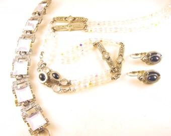 Art Deco Style Jewelry Lot Necklace Earrings Bracelet Opera Length Long Chain Pierced Earrings