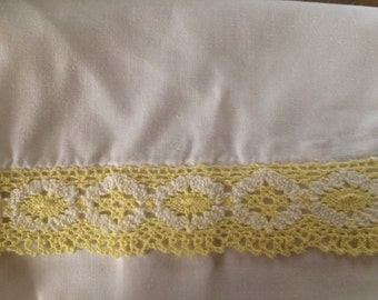 Pretty yellow and white crocheted Trim Vintage Sheet Standard Pillow Case Sheets