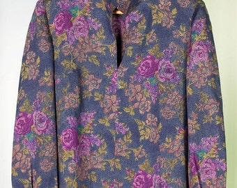 ON SALE Floral print wool blouse