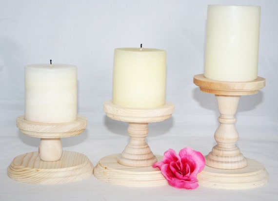 Smaller unfinished wood pillar candlestick holders diy - Unfinished wood candlestick holders ...