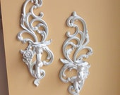 Syroco Wall Sconce, Syroco Candelabras, Upcycled White Syroco Wall Art