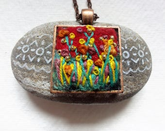 Hand made Felt and Embroidered Pendant Necklace SALE